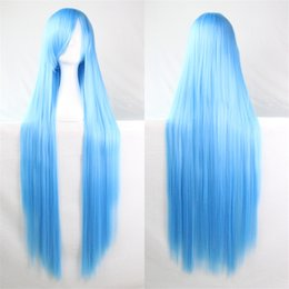 Wholesale Cosplay Lolita Wigs White - 100cm Synthetic Wig Heat Resistant Blonde Black Purple Blue Yellow White Pink Perruque Peluca Lolita Straight Anime Cosplay Wigs Cosplay wom