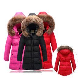 Wholesale Down Jacket Kids Duck - Girl Overcoat Warm Hooded Solid Coat Children Casual Outerwear Jacket Coat Kids Girls Outer Wear Fashion Down Jackets