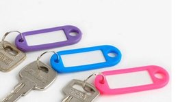 Wholesale Plastic Card Label - Free shipping Plastic Key Ring ID Tags Name Card Label Luggage Tags Keychain Assorted