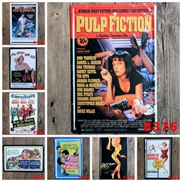 Wholesale Vintage Bus Sign - Pulp fiction 007 the seven year itch Bus Stop Movie Vintage Craft Tin Sign Retro Metal Poster Bar Pub Signs Wall Art Sticker(Mixed designs)
