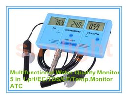 Wholesale temperature ph - Wholesale- Multi-functional Water Quality Monitor 5 in 1 pH EC TDS CF Temperature with ATC function