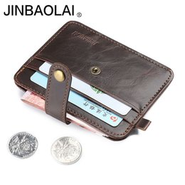 Wholesale horse coin purse - Mini wallets hasp small purse leather wallet men purses male clutch women crazy horse leather vintage style New