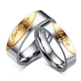 Wholesale Wedding Ring Pairs - 1 Pair Gift Rings for Men Women Love Forever Couple Ring of Steel Cubic Zirconia Wedding Jewelry
