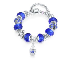 Wholesale Vintage Glass Bead Chain - Women Charm Bracelet Vintage Silver Plated Snake Chain Sapphire Blue Glass Bead Princess Crown Charm Bracelet for Women Gi Excellent quality
