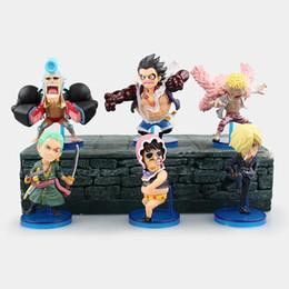 Wholesale One Piece Anime Set - Anime One Piece 6pcs set Luffy Zoro Sanji Doflamingo Franky Senor Pink PVC Figures Brinquedos Collection Toys Model