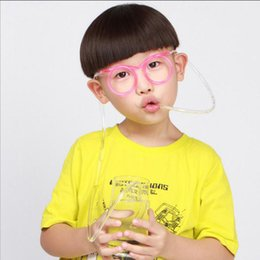 Wholesale plastic party sunglasses - Sunglasses Drinking Straw Funny Kids Colorful Soft Glasses DIY Straw Unique Flexible Drinking Sunglasses Tube Kids Party Gift