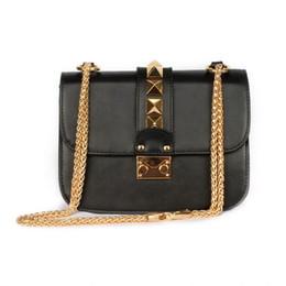 Wholesale Gold Cross Body Handbag - Wholesale- Women Luxury Design Vintage Genuine Leather Solid Handbag Female Rivet Chain Crossbody Messenger Bag Shoulder Bags Free Shipping