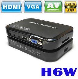 2019 мини-миль на галлон Портативный Миниый полный мультимедийный проигрыватель Центра средств HD 1080p H6W поддерживает порт хозяина USB дешево мини-миль на галлон