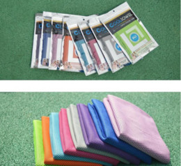 Wholesale Wholesales Towels - 90*30cm Double Layer Ice Cooling Towel Cool Summer Cold Sports Towels Instant Cool Dry Scarf Soft Breathable Ice Belt Towel for Adult Kids