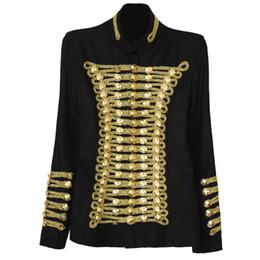 Wholesale unique rocks - Wholesale- Spring autumn retro unique runway rock punk jacket wool blends Napoleon gold buttons vintage jackets