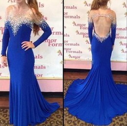 Wholesale 12 Stones T Shirts - Sexy Rhinestone Mermaid Prom Dress Long Sleeve 2017 robe de bal longue Royal Blue Long Evening Dresses With Stones party kleider