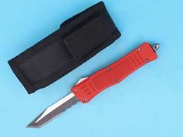 2019 tanto cuchillo personalizada Cuchillos personalizados - 7 pulgadas, rojo pequeño 616 Auto Tactical Knife 440C Solo filo Tanto media cuchilla de fundición con bolsa de nylon tanto cuchillo personalizada baratos