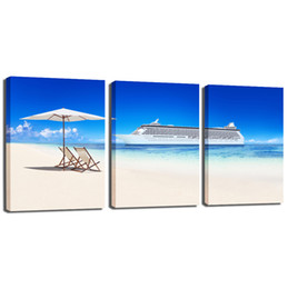 Wholesale Oil Painting Sea Blue Landscape - Canvas Wall Decor, Sea Beach Blue Canvas Painting Seascape Wall Art Paintings on Canvas for Living Room Bedroom Wall Decorations