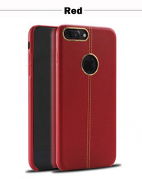 Wholesale Iphone Leather Case Blue - For Red iphone 7 7 plus Leather case leather stitching with metal ring case TPU Protection Cell phone Cases