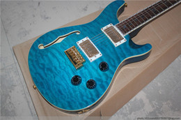 Wholesale Electric Guitar Bird Inlay - Custom 22 Private Stock Brazilian Limited Blue Qulited Maple Top Holllow Body Electric Guitar Abalone Neck Binding & Birds Fingerboard Inlay