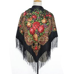 Wholesale Scarves Polyester Purple - 2016 New Fashion Women Square Winter Wrap Scarf Luxury Brand Lady Tassel Bandana Shawl Floral Designer Poncho Hot Sale Headband