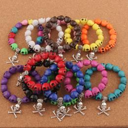 Wholesale China Beaded Bracelets - Hot Prayer Acrylic Colorful Skeleton Skull Beaded Bracelets Strands 24pcs lot Elastic Unisex BB65 7inch 12colors