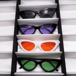 Wholesale Colored Frames Glasses - New Women Colored Lens Cat Eye Sunglasses Brand Designer Inspired Retro Sun Glasses Shades 12pcs  lot Free shipping