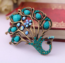Wholesale Elegant Jewelry For Men - Wholesale- Top Quality Elegant Green Peacock Crystal Brooch Pin Natural Turquoies Stone Jewelry Accessoies For Women Men