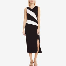 Wholesale Color Block Maxi - Bold Black and White Blocking Color Midi Dress