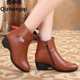 Wholesale Light Brown Wedge Boots - The new winter 2017 women's genuine leather boots, wool ankle boots slip mom big size 35-43 women's boots, free shipping