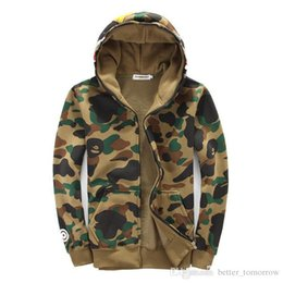 Wholesale Woman S Sweaters Cheap - Production Customize Tide Shark Printing Sweater Men And Women Increase Down Even Hat Loose Coat cheap AL