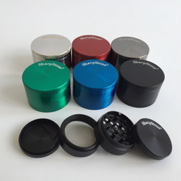 Wholesale Tobacco Free Ship - 40mm 50mm 55mm 63mm 4 parts SharpStone Tobacco Grinder herb grinder cnc teeth filter net dry herb vaporizer pen free shipping
