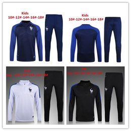 Wholesale Free Kids Clothes - France capped football jerseys 2016 2017 kids Thai Quality New 16 17 kid France capp Long Sleeve Training Clothing embroidery Free Shipping