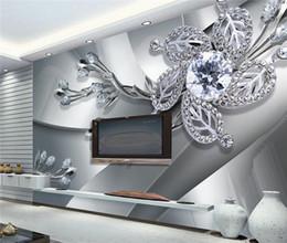 Fiori moderni viventi di carta da parati online-Personalizzato Qualsiasi dimensione 3D Murale Carta da parati Diamante Motivi a fiore Sfondo Arte moderna Grande parete Pittura Soggiorno Home Decor