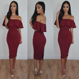 Wholesale Plus Size Bodycon Satin Dresses - 2018 Burgundy Short Mermaid Prom Dresses Cascading Bodycon Cheap Dresses for Women Sexy Off-Shoulder Tea-Length Formal Evening Party Gowns