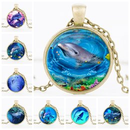 Wholesale Easter Cabochons - Dolphins Glass Cabochons necklace ocean round sweater chain time stone necklace for women gift