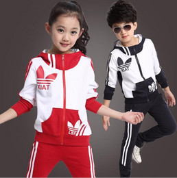 Wholesale Leopard Children Sweater - 2016 spring new fall and winter clothes children's clothing girls sports suit kids clothes children coat sweater piece