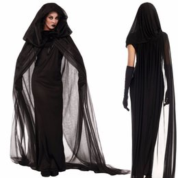 Wholesale Woman Ghost Costume - Black Night Wandering Soul Ghost Vampire Dress Costume With Floored Hooded Cape For Woman Girl Halloween Party Cosplay