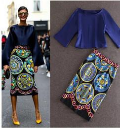 Wholesale Women Twin Sets - Two Piece Dress Plus Size 3XL 2017 new Women Long Sleeve Loose Top+printed package hip skirt ladies Elegant Vantage Twin Set