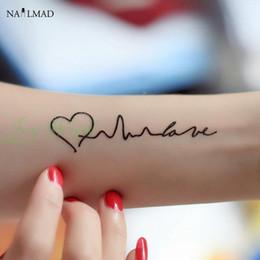 Wholesale Tattoo Sticker Love - Wholesale- 1 sheet Black Waterproof Temporary Tattoo Love Heart Electrocardiogram Flash Tattoo Decals Body Art Tattoo Sticker Y011