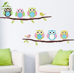 Wholesale Owl Wallpaper - Wholesale- Animal cartoon owl tree vinyl wall stickers for kids rooms boys girl home decor sofa living wall decals child sticker wallpaper