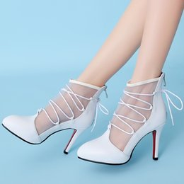 Wholesale White Bridal Boots - New Fashion Summer Wedding Boots Sexy White Net Prom Evening Party Shoes Bridal High Heels Lady Formal Dress Shoes