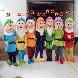 Wholesale Dwarf Mascot Costume Cartoon - Hot new Dwarves Mascot Costumes Cartoon Character Costume Adult Fancy Dress Halloween carnival costumes EMS Free Shipping