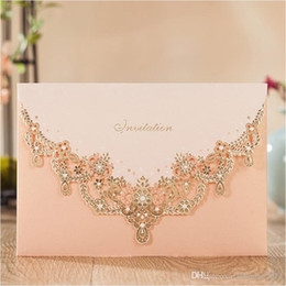 Wholesale Lace For Invitations Wholesale - 2017 gold wedding invitations pink lace invitation card for princess birthday evening party invites with envelope 50pcs