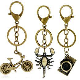 Wholesale Clock Bike - anchor leychain metal scorpion key chain pendant bike clock bag charm vintage trinket for men and women