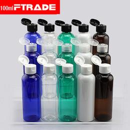 2019 shampooings bouchons En gros- (10pcs / lot) 100ml shampooing bouteilles de voyage en plastique avec capuchon flip top, rechargeable voyage shampoing emballage bouteilles PET shampooings bouchons pas cher