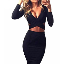 Wholesale Women Pencil Dress - Women Fashion Bandage Crossift Elastic Dresses Party Clue Long Sleeve Dress Elastic Slim Fit Pencil Mini Bodycon Vestidos WD60 WR