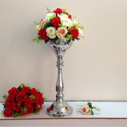 Wholesale Led Candlesticks Wholesale - Classic silver finish 55 cm table flower vase wedding event or party road lead home decor metal candlestick 1 lot = 10 pcs