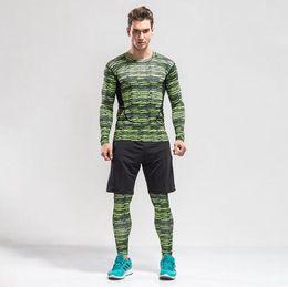 Wholesale Superman Shirt Men - Superman Compression Tracksuit Men Training Running Set Fitness Tight Long Sleeve Shirt Pants Leggings Gym Sport Suit kits Men