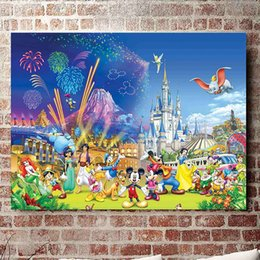 Wholesale Bedroom Wall Paint - (No frame) Disney Castle series HD Canvas print Wall Art Oil Painting Pictures Home Decor Bedroom living room kitchen Decoration