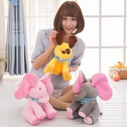 Wholesale Animated Toys - Peek-a-boo Elephant Baby Plush Toy Singing Stuffed Animated Doll Gift Elephant Stuffed Animals Hide and seek Electric music Plush KKA2642
