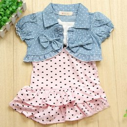 Wholesale Cute Jean Dresses - Wholesale- Cute Newborn Girl Hearts Dress Bow Denim Jean Jackets Coat Sets Costume 2PCS