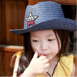 Wholesale Straw Stars Wholesale - Kids Straw Western Cowboy hat Children Cowgirl Hat with Americian Flag Star 10pcs lot