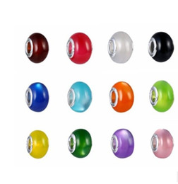 Wholesale Glass Eyes For Jewelry - Mixed 50Pcs 925 Sterling Silver Core Cat's eye Opal Murano Lampwork Glass Charm Beads For Pandora European Jewelry Charms Bracelet DIY Woman