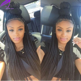 Wholesale long dark red hair - Hotselling braid synthetic lace front wig box braided wig synthetic long black braid wigs with baby hair for black women